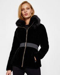 Ted Baker - Velvet Faux Fur Collar Down Jacket - Lyst