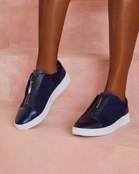 Ted Baker - Zip Detail Leather Trainers - Lyst