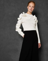 Ted Baker - Frill Sleeve And Shoulder Jumper - Lyst