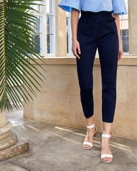Ted Baker - Ruffle Waist Tapered Cotton Trousers - Lyst