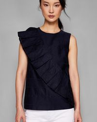 Ted Baker - Ruffle Front Embroidered Top - Lyst