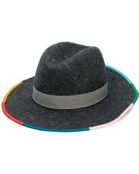 0288ddf0572 Paul Smith Contrast Trim Woven Hat in Brown - Lyst