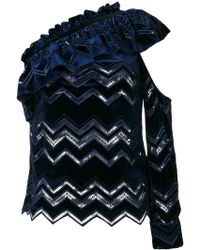 Self-Portrait - Zig Zag Embroidered Top - Lyst