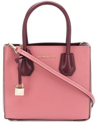 8c92c26fe830 MICHAEL Michael Kors - Mercer Medium Accordion Messenger Bag In Rose  Grained Calfskin - Lyst
