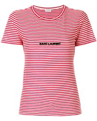 Saint Laurent - Striped Knitted Logo T-shirt - Lyst