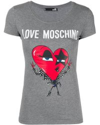 Love Moschino - Printed Cotton T-shirt - Lyst