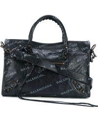 Balenciaga - Small City Bag With Big All Over Logo - Lyst