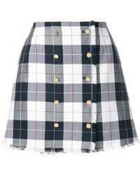 Thom Browne - Blend Wool Checked Skirt - Lyst