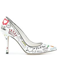 Dolce & Gabbana - Murales Print Leather Court Shoes - Lyst
