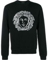 Versace - Embroidered Cotton-blend Jersey Sweatshirt - Lyst