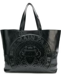 Balmain - Cabas Leather Shopping Bag - Lyst