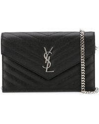 Saint Laurent - Monogram Envelope Leather Wallet On Chain - Lyst