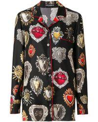 Dolce & Gabbana - Hearts Print Silk Blouse - Lyst