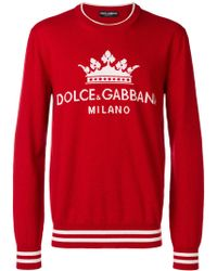 Dolce & Gabbana - Crew Neck Sweater With Logo Print - Lyst