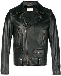 Saint Laurent - Crust Vintage Leather Jacket - Lyst