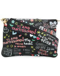 Dolce & Gabbana - Graffiti Print Leather Shoulder Bag - Lyst
