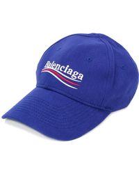 785840b1e9d Balenciaga Campaign Logo Cotton Baseball Cap in Blue - Lyst