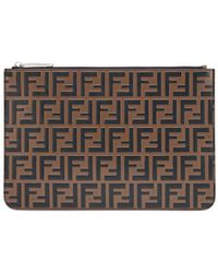 Fendi - Leather Pouch With Print - Lyst