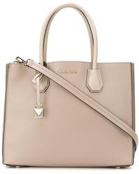 Lyst - Michael Michael Kors Large Leather Mercer Tote Bag in Pink 034433d29
