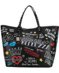 Dolce & Gabbana - Printed Leather Shopping Bag - Lyst