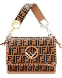 Fendi - Kan I Large Leather Shoulder Bag - Lyst