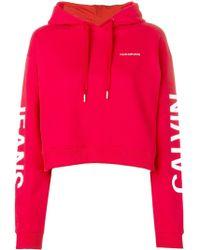 Calvin Klein - Logo Cropped Hoodie - Lyst