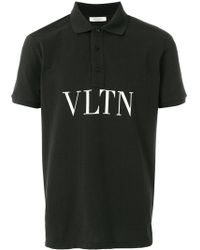 Valentino - Printed Cotton Polo - Lyst