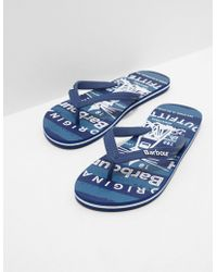 Barbour - Mens Beach Flip Flops Blue - Lyst
