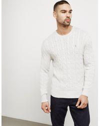 Polo Ralph Lauren - Mens Cable Knit Jumper Light Grey/light Grey - Lyst