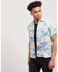 Replay - Mens Hawaiian Short Sleeve Shirt - Online Exclusive Ecru/ecru - Lyst
