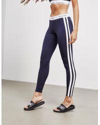 Calvin Klein - Womens Stripe Leggings Navy Blue - Lyst
