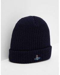 Vivienne Westwood - Mens Orb Knitted Beanie Navy - Lyst