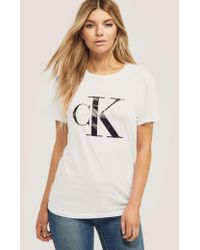 Calvin Klein - Womens Re-issued Shrunken T-shirt White - Lyst