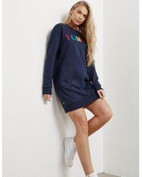 Tommy Hilfiger - Womens Sweatshirt Dress Navy Blue - Lyst