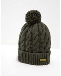 e738b3961e2 Barbour Wool Cable Knit Bobble Beanie In Olive in Green for Men - Lyst