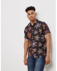 PS by Paul Smith - Casual Fit Floral Short Sleeve Shirt In Black - Lyst