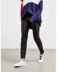 BOSS - Womens Faux Leather Trousers Black - Lyst