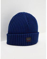 c78cab49c25b5 Paul   Shark Virgin Wool Logo Beanie Hat in White for Men - Lyst