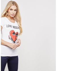 Love Moschino - Womens Face Heart Short Sleeve T-shirt White - Lyst