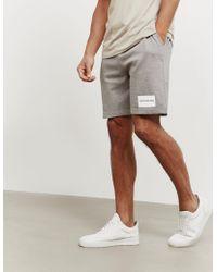 Calvin Klein - Mens Box Logo Fleece Shorts Grey - Lyst