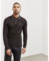 c36a22df587cc Lyst - Emporio Armani Slim Fit Long Sleeve Polo Top in Black for Men