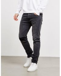 Edwin - Mens Ed85 Power Distressed Slim Tapered Jeans Black - Lyst