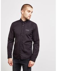 HUGO - Mens Ero Long Sleeve Shirt Black - Lyst