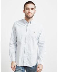 Polo Ralph Lauren - Mens Stripe Long Sleeve Oxford Shirt - Online Exclusive Blue - Lyst