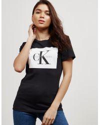 Calvin Klein - Womens Tanya-40 Square Short Sleeve T-shirt Black - Lyst