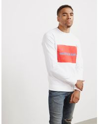 Calvin Klein - Large Box Crew Sweatshirt White - Lyst