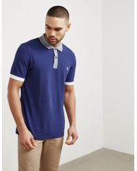 Fred Perry - Mens Stripe Collar Short Sleeve Polo Shirt Navy Blue - Lyst