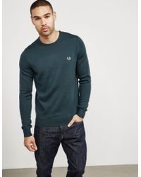 Fred Perry - Mens Merino Knitted Jumper Green - Lyst