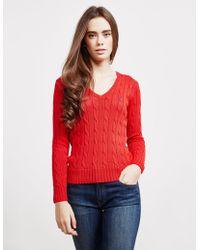 Polo Ralph Lauren - Kimberly V-neck Jumper Red - Lyst