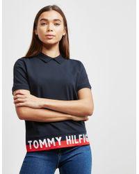 91678873b4cc Tommy Hilfiger Womens Flag Short Sleeve T-shirt Navy Blue in Blue - Lyst